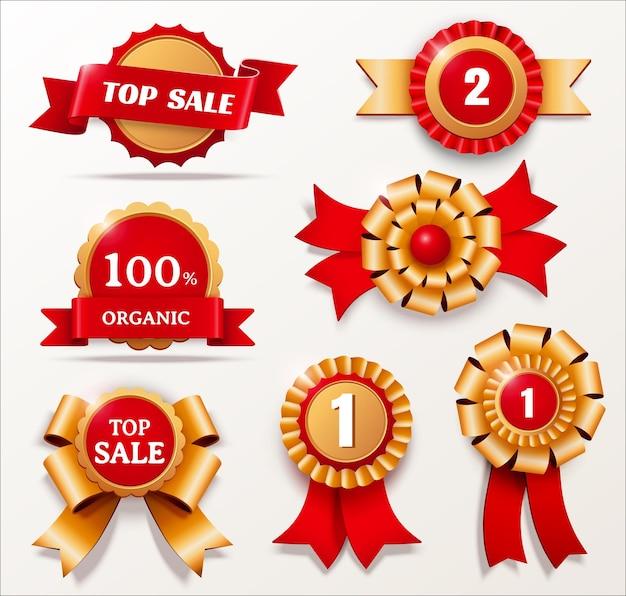 Coleção de distintivos dos prêmios mais vendidos nas cores vermelha e dourada, ilustração 3d