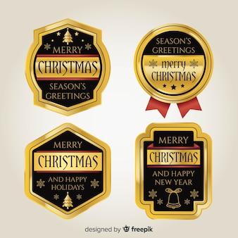 Coleção de distintivos dourados de natal