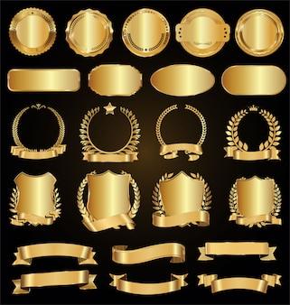 Coleção de distintivos dourados etiquetas louros e fitas