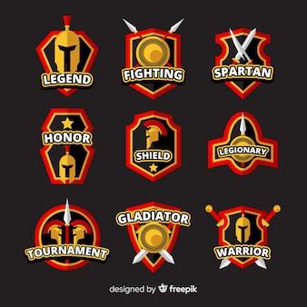 Coleção de distintivos espartanos