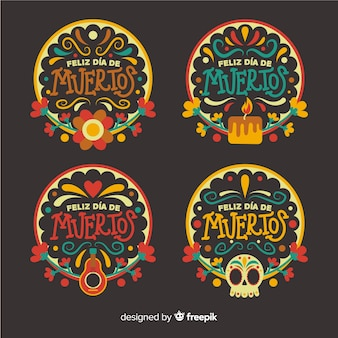 Coleção de distintivos flad design día de muertos