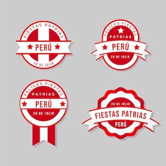 Coleção de distintivos flat fiestas patrias de peru