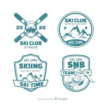 Coleção de distintivos plana de clube de esqui