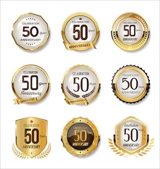 Coleção de distintivos retrô dourado de aniversário