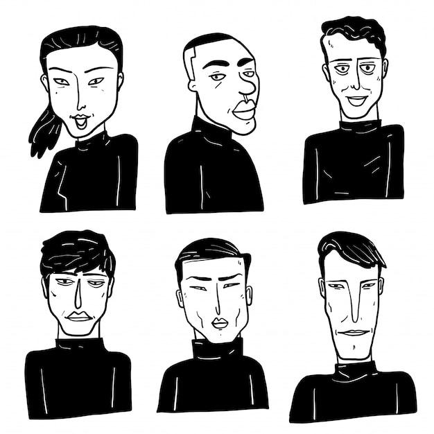 Coleção de diversos rostos desenhados a mão.