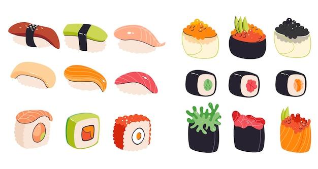 Coleção de diversos sushis asiáticos e sashimis isolados no branco