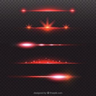 Coleção de divisor de reflexo de lente vermelha brilhante