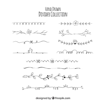 Coleção de divisor na mão desenhada estilo