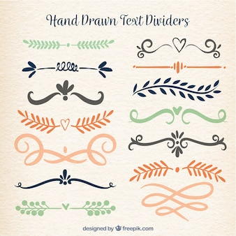 Coleção de divisores de texto em estilo desenhado a mão