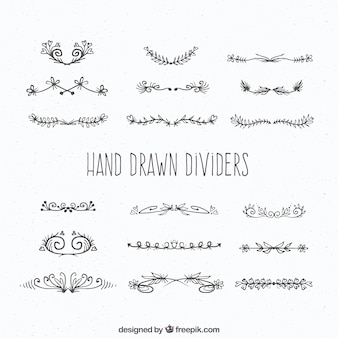 Coleção de divisores na mão desenhada estilo