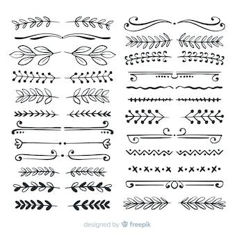 Coleção de divisória ornamental desenhada de mão