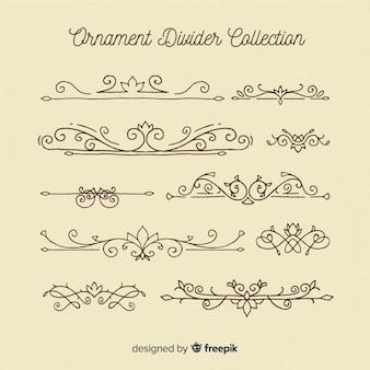 Coleção de divisórias de ornamento