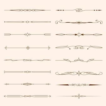 Coleção de divisórias ornamentais caligráficas