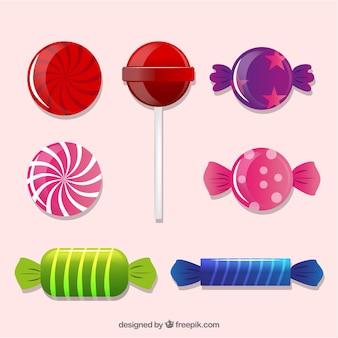 Coleção de doces coloridos em estilo realista