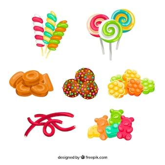 Coleção de doces coloridos na mão desenhada estilo