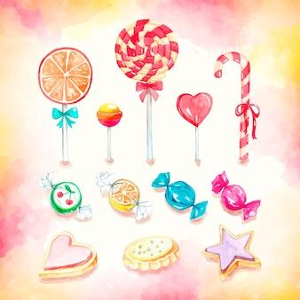 Coleção de doces coloridos