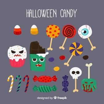 Coleção de doces de halloween colorido com design plano