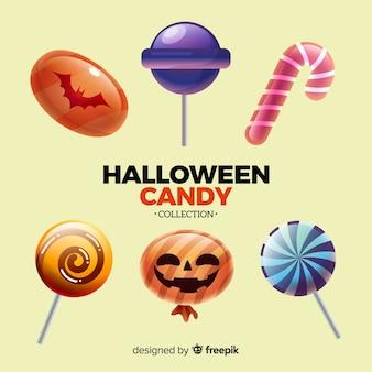 Coleção de doces de halloween colorido com design realista