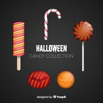 Coleção de doces de halloween com design realista