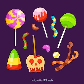 Coleção de doces de halloween de design plano