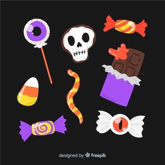 Coleção de doces de halloween de mão desenhada