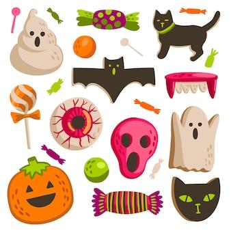 Coleção de doces de halloween desenhada à mão