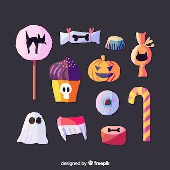 Coleção de doces de halloween em aquarela sobre fundo preto