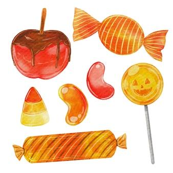 Coleção de doces de halloween em aquarela