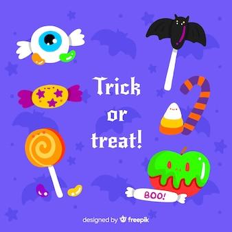 Coleção de doces de halloween em design plano
