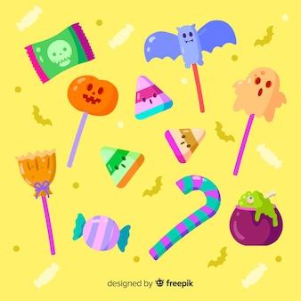 Coleção de doces de halloween plana
