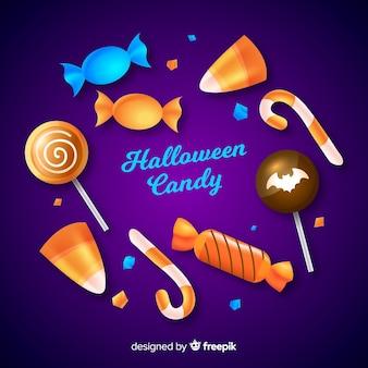 Coleção de doces de halloween realistas