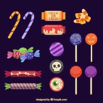Coleção de doces de halloween