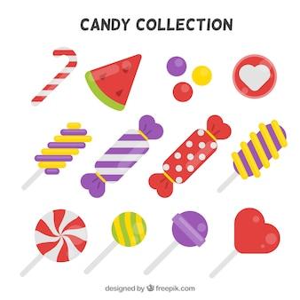Coleção de doces deliciosos com cores diferentes