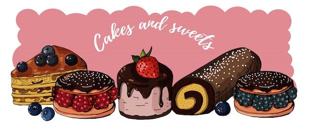 Coleção de doces e bolos