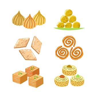 Coleção de doces indianos desenhada à mão