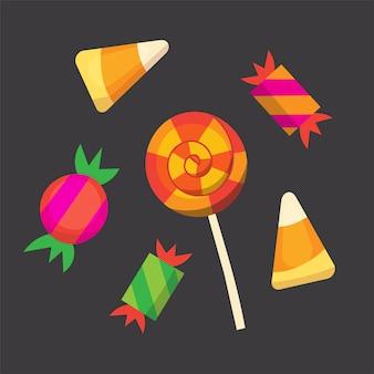 Coleção de doces para desenhos de halloween ícones do vetor