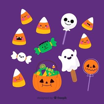 Coleção de doces plana halloween