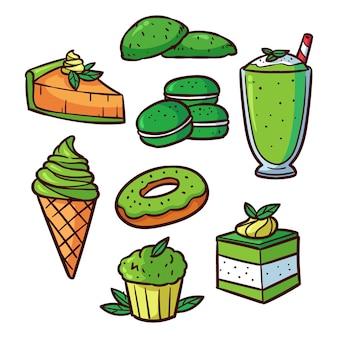 Coleção de doces tradicionais japanesse matcha verde