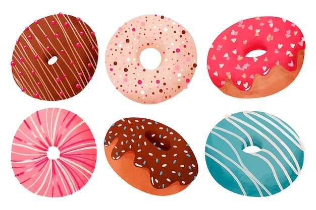 Coleção de donuts em aquarela pintada à mão