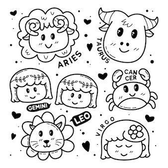 Coleção de doodle bonito do zodíaco