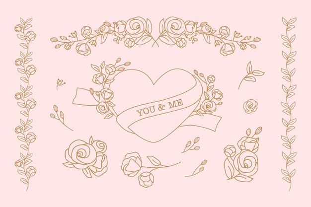 Coleção de doodle de coração e floral