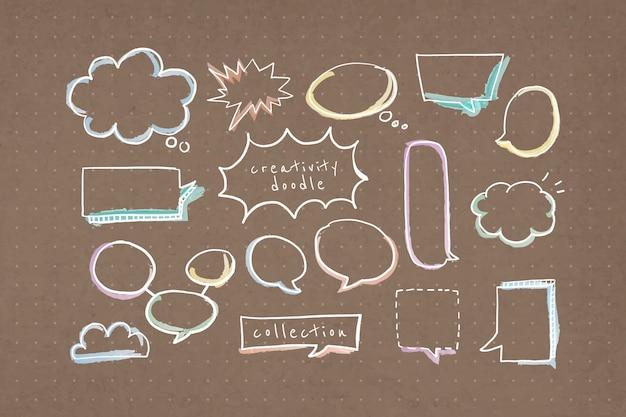 Coleção de doodle de criatividade de bolha de discurso