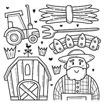 Coleção de doodle de fazenda
