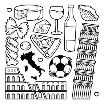 Coleção de doodle de itália
