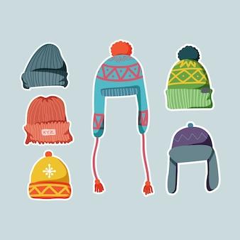 Coleção de doodle de malha de chapéus de inverno