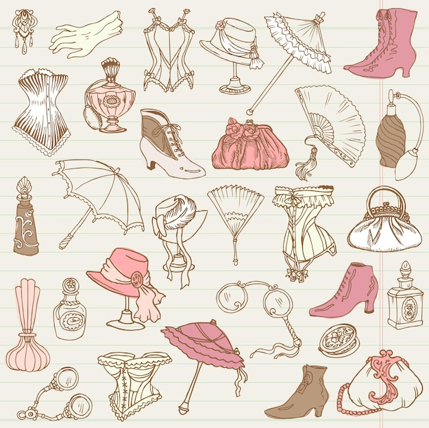 Coleção de doodle de moda feminina e acessórios