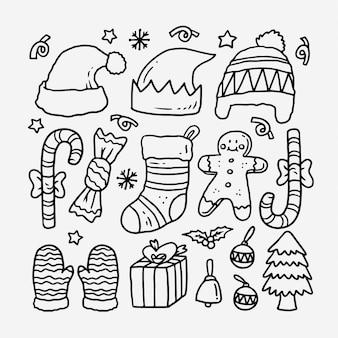 Coleção de doodle de natal mão desenhada