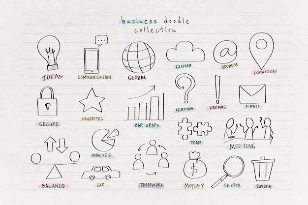 Coleção de doodle de negócios