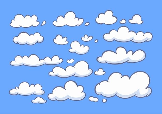 Coleção de doodle de nuvens. conjunto de mão desenhada.