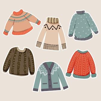 Coleção de doodle de suéter com roupa de inverno